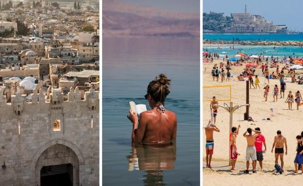 תיירות בישראל: ים המלח, ירושלים ותל אביב (צילום: יונתן זינדל, פלאש 90)