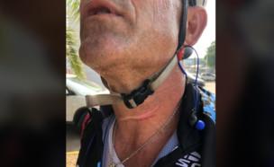 הפציעה של רוכב האופניים בבית שמש  (צילום: אושרי בן עמי)