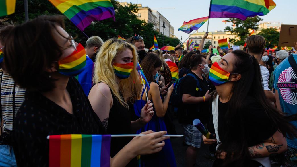 """הפגנת להט""""ב בורשה, פולין (צילום: Omar Marques, Getty Images)"""