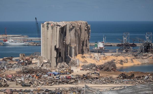 אזור הפיצוץ בנמל ביירות (צילום: Chris McGrath, Getty Images)
