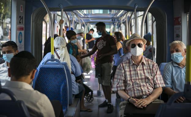 קורונה, ירושלים, רכבת קלה, מסכות, ישראל (צילום: אוליביה פיטוסי , פלאש 90)