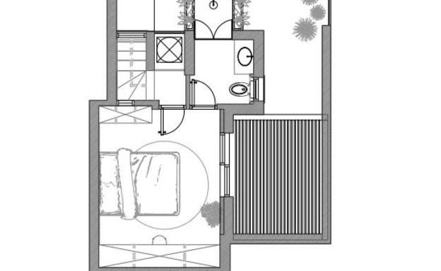 עיצוב סטודיו רועי זליחובסקי, תוכנית אדריכלית, קומת גג, ג (שרטוט: רועי זליחובסקי)