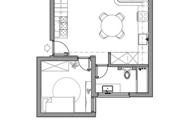 עיצוב סטודיו רועי זליחובסקי, תוכנית אדריכלית, קומת כניסה, ג (שרטוט: רועי זליחובסקי)