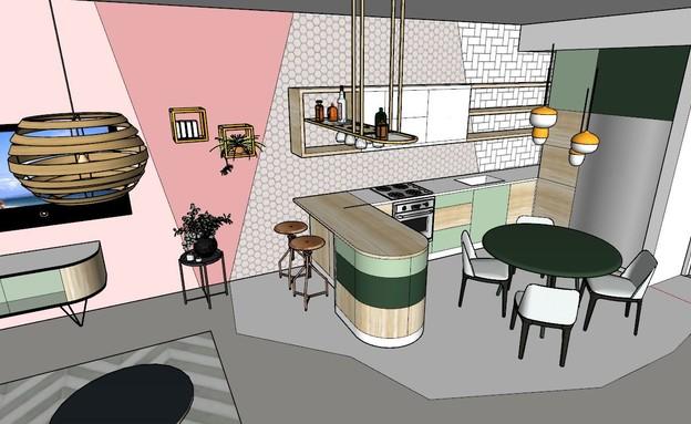 דירה בתל אביב, עיצוב סטודיו רועי זליחובסקי - 1 (הדמיה: רועי זליחובסקי)