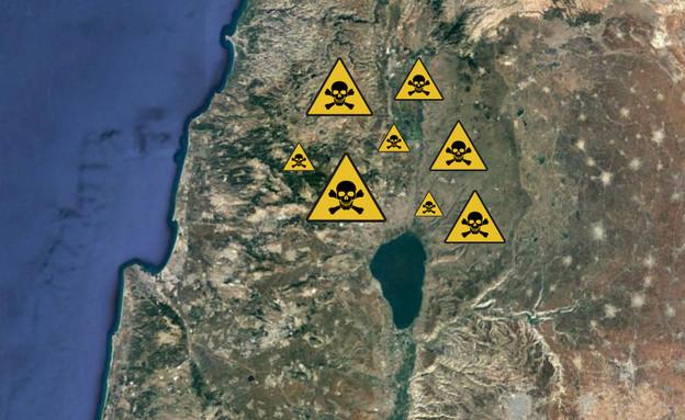 מפת מוקשים בישראל (הדמיה: google, google earth)
