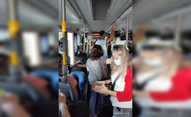 עומס נוסעים בתחבורה הציבורית