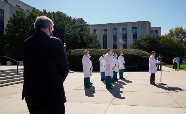 ראש הסגל בבית הלבן, וסגל הרופאים שמטפלים בנשיא טראמפ (צילום: Reuters)