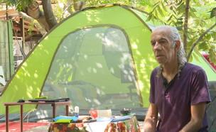 פני האבטלה: הסאונדמן שנאלץ לעבור לגור באוהל (צילום: N12)