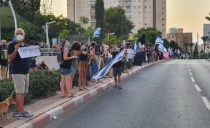 הפגנות נגד נתניהו בגבעתיים (צילום: N12)