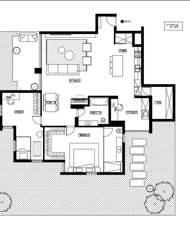דירה בגני תקווה, עיצוב ליאת פוסט,  תוכנית אדריכלית, אחרי שיפוץ -1