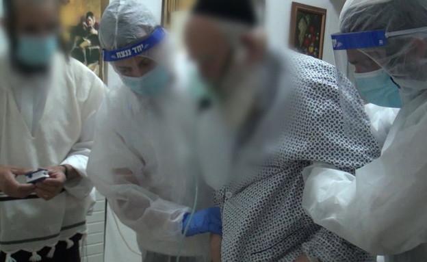 המערך החשאי של טיפול בחולים במצב קשה בחברה החרדית (צילום: החדשות 12)
