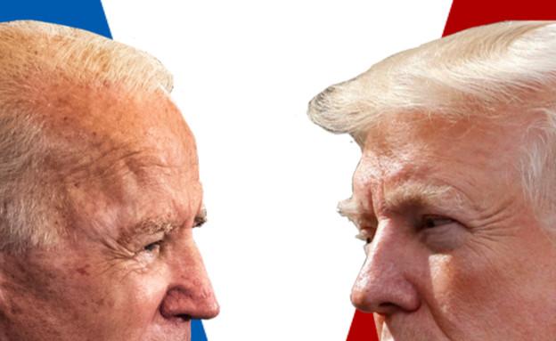 אמריקה בוחרת, טראמפ, ביידן (צילום: החדשות 12)