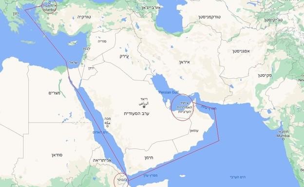שיט לאיחוד האמירויות (צילום: גוגל מפות)