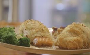 דג סלמון בקדאיף (צילום: אמהות מבשלות ביחד, ערוץ 24 החדש)