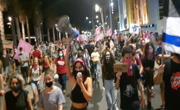 הפגנה בטיילת תל אביב (צילום: החדשות 12)