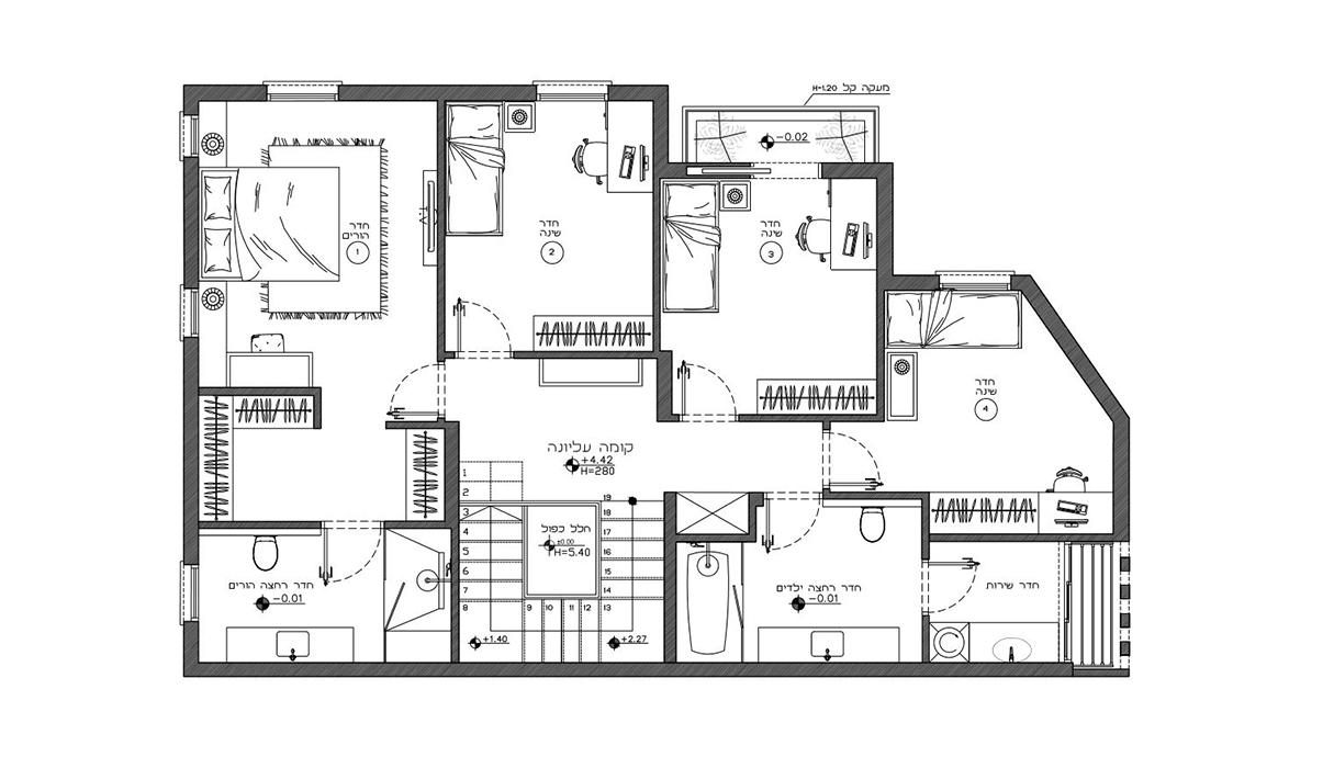 בית במזכרת בתיה, עיצוב מורן רוזנברג ורז דהאן, תוכנית קומת עליונה