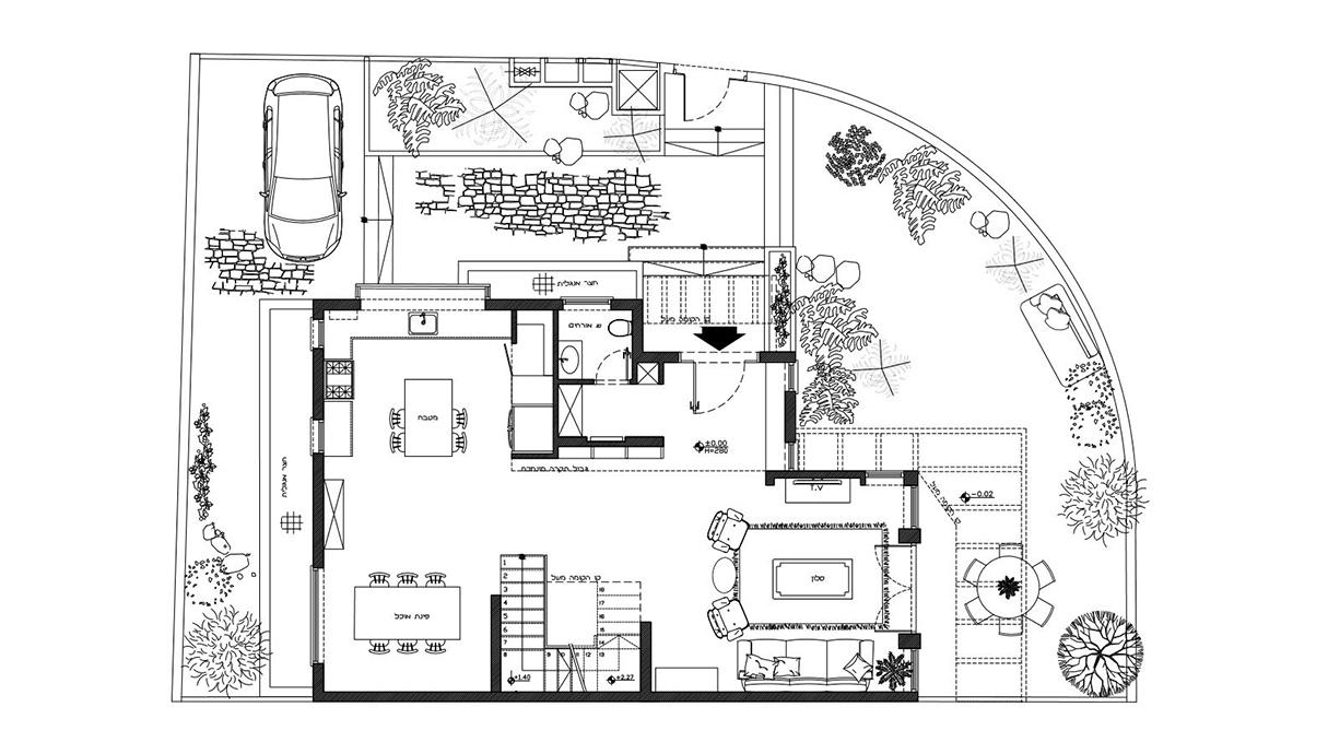 בית במזכרת בתיה, עיצוב מורן רוזנברג ורז דהאן, תוכנית קומת קרקע