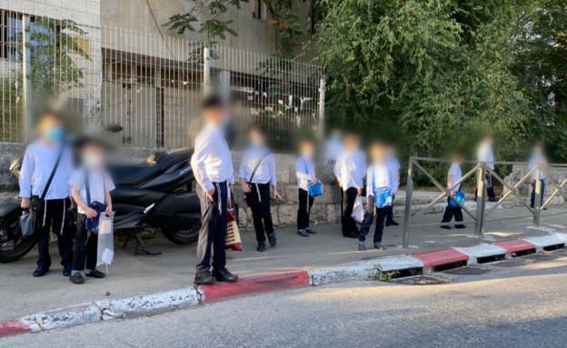 תלמידי תלמודי תורה חרדיים הבוקר בירושלים (צילום: החדשות 12)