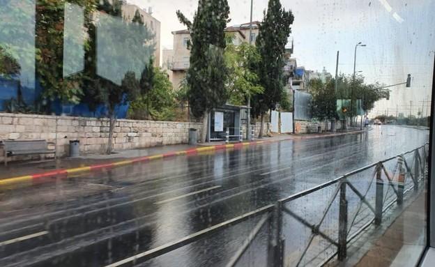 גשם בירושלים (צילום: דניאל גילו, TPS)