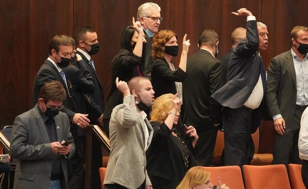מהומה במליאת הכנסת בעקבות ההצעה שנפסלה (צילום: שמוליק גרוסמן, דוברות הכנסת)