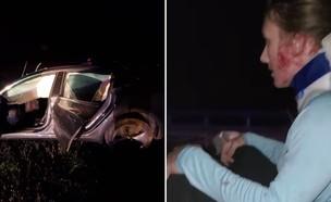 """טסלה התנגשה במהירות של 110 קמ""""ש (צילום: OhioTesla/Twitter)"""