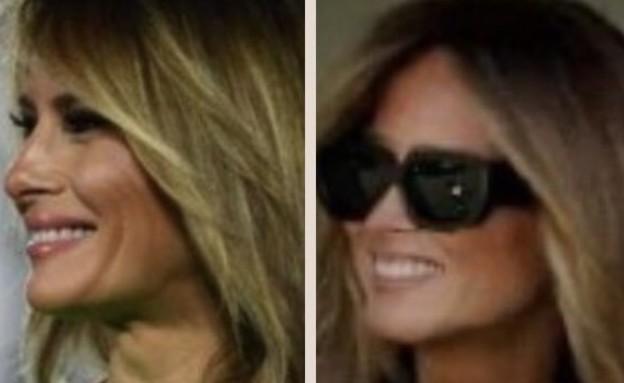 """מלאניה """"המזויפת"""" מימין, מלאניה """"האמיתית"""" משמאל (צילום: twitter)"""