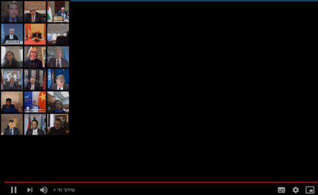 השגריר ארדן נואם עם מסך שחור עקב תקלה טכנית (צילום: youtube)