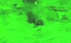 """תקיפה של אמצעי תצפית בסוריה (צילום: דובר צה""""ל)"""