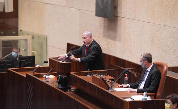 """רה""""מ נתניהו במליאת הכנסת (צילום: שמוליק גרוסמן, דוברות הכנסת)"""