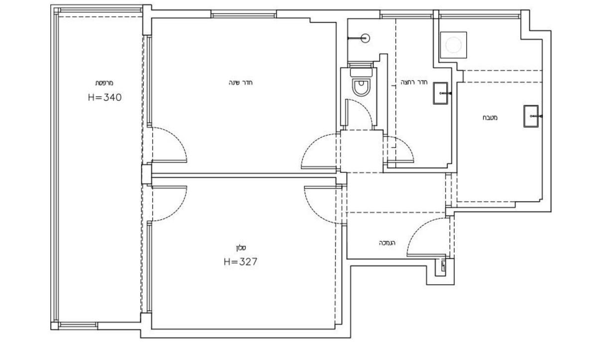 דירה בתל אביב, עיצוב עופרי דרור, תוכנית לפני שיפוץ