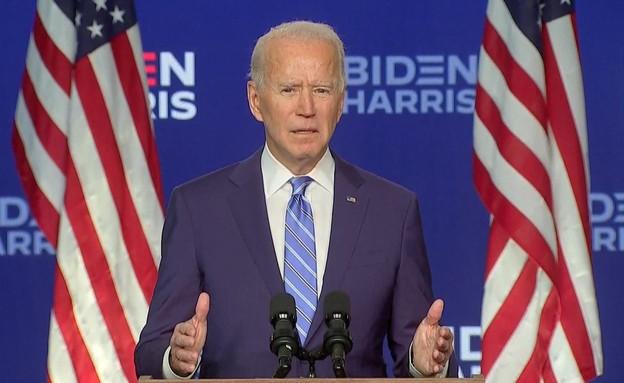 ביידן נאום תרום הניצחון (צילום: רויטרס)