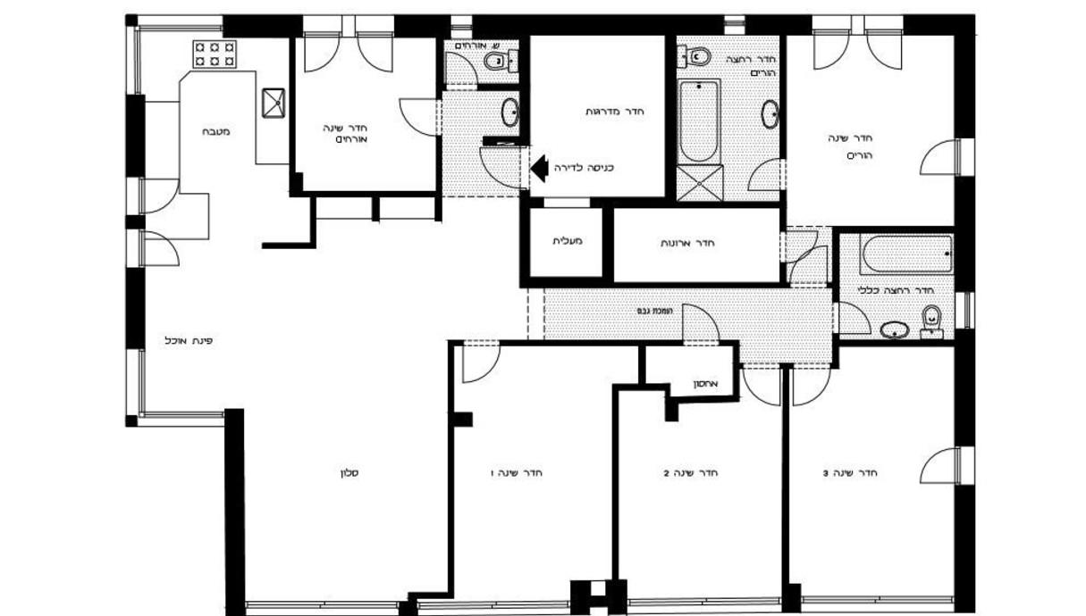 דירה בירושלים, עיצוב עינת ארליך, תוכנית לפני שיפוץ