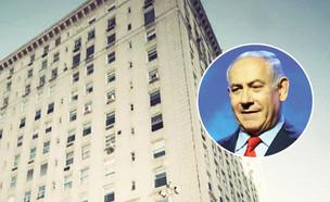נתניהו והבניין בשדרה החמישית שבו נמצאת הדירה (צילום: איל יצהר, גלובס)