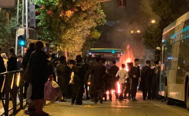 ירושלים, הערב (צילום: מחאות החרדים הקיצוניים)