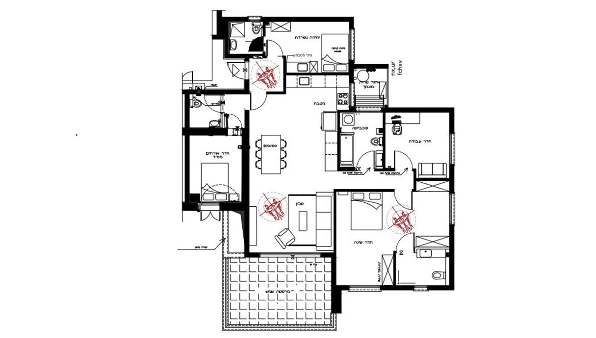 דירה בנהריה, עיצוב שרון בן-משה, לייזה זיו, תוכנית אחרי שיפוץ