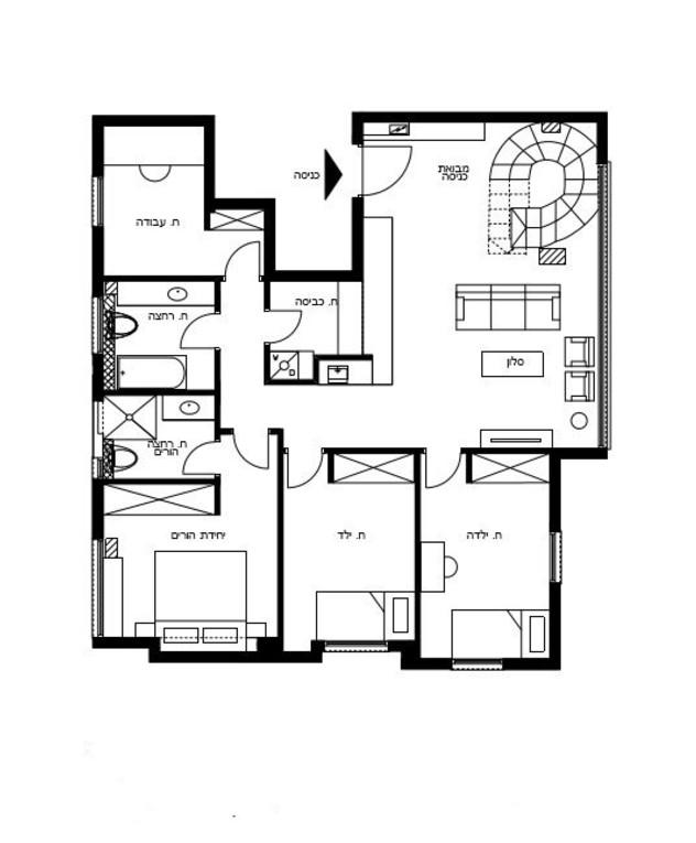 דירה בתל אביב, עיצוב נעה בר וטל מידן, ג, תוכנית קומת כניסה