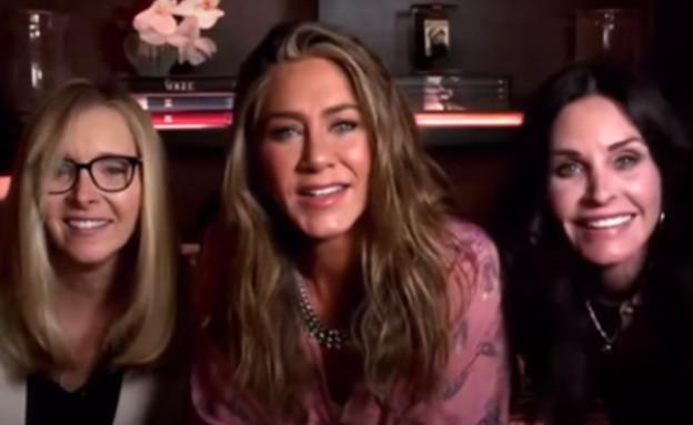 """כוכבות """"חברים"""", מתוך טקס פרסי האמי (צילום: צילום מסך מתוך טקס פרסי האמי, רשת ABC)"""