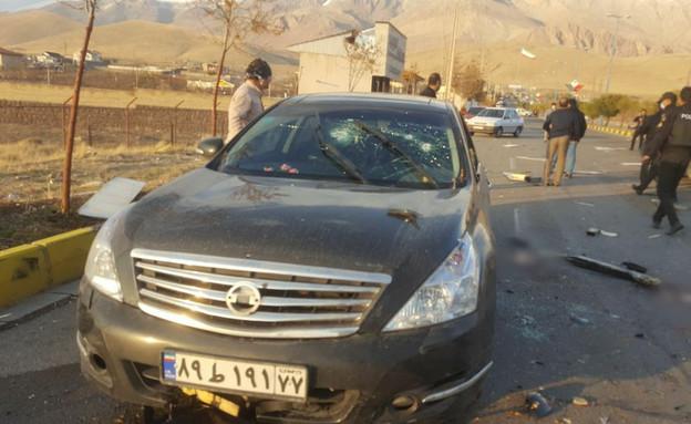 זירת החיסול של ראש תוכנית הגרעין באיראן (צילום: סוכנות הידיעות פארס)