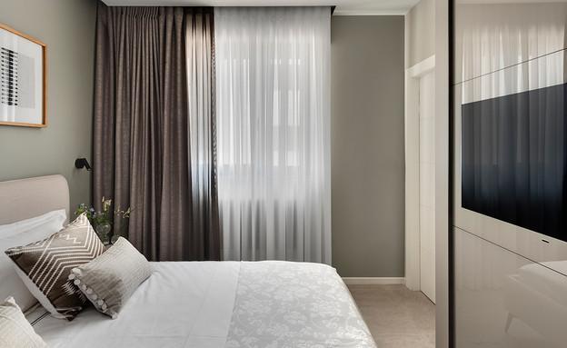 טלוויזיה בחדר השינה, עיצוב ליבנת כהן מרין (צילום: עודד סמדר)