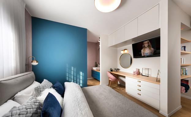 טלוויזיה בחדר השינה, עיצוב נועה ילוז אדרי ושרית ויזל גלנטי (צילום: אלעד גונן)
