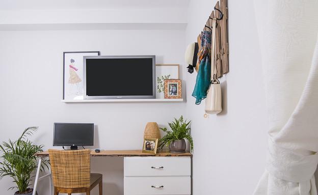 טלוויזיה בחדר השינה, עיצוב נטלי אלל (צילום: עידן גור)