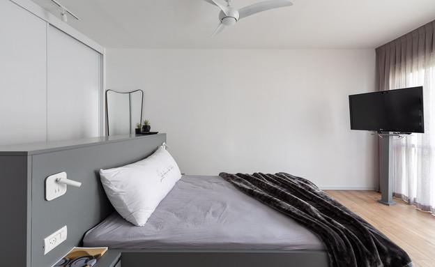 טלוויזיה בחדר השינה, עיצוב רוני שני פלדשטיין (צילום: אורית ארנון)