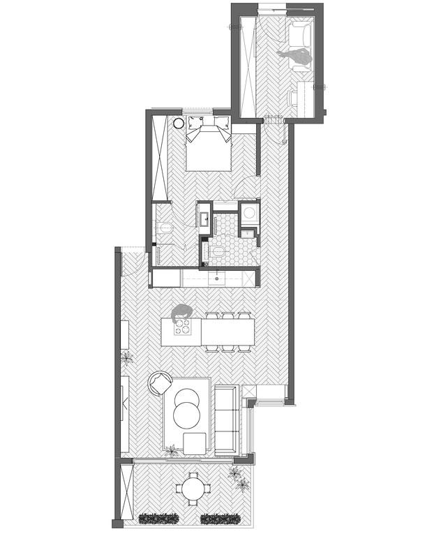 דירה בתל אביב, עיצוב הגר בר-גיל, ג, תוכנית - 1