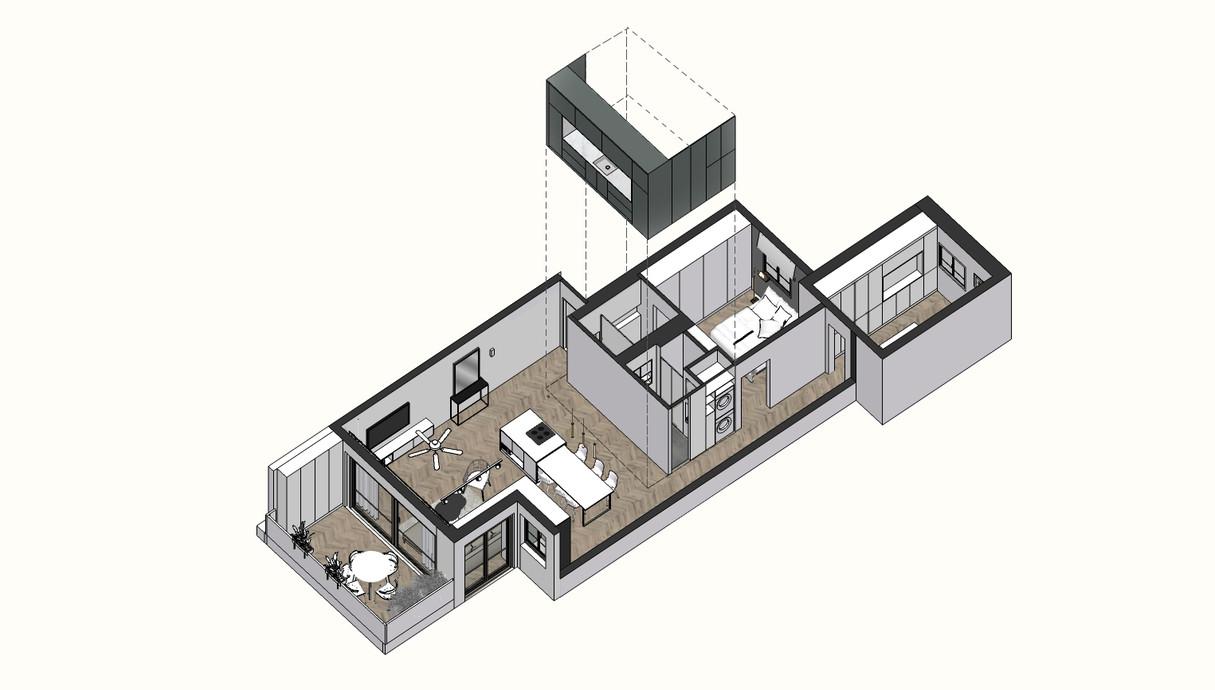 דירה בתל אביב, עיצוב הגר בר-גיל, תוכנית - 2