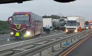 """תאונה בכביש החוף (צילום: תיעוד מבצעי מד""""א)"""