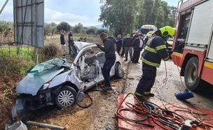 """תאונת דרכים קטלנית בגלבוע: בת 17 נהרגה (צילום: דוברות מד""""א)"""