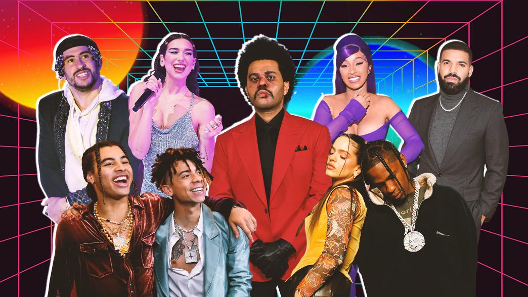 השירים הכי טובים של 2020 (צילום:  Getty Images: Emma McIntyreAMA2020, Gareth Cattermole, Kevin Mazur-BBMA202, Kevin MazurMTV VMAs 2020, Prince Williams, Steve Granitz | עיצוב: סטודיו mako)