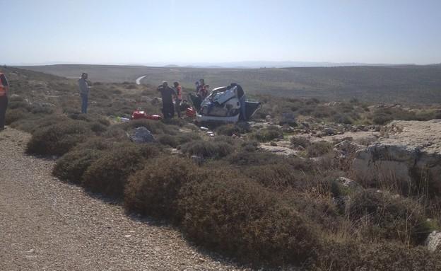 זירת התאונה בבנימין שבה נהרג נער גבעות שנמלט מהמשטרה
