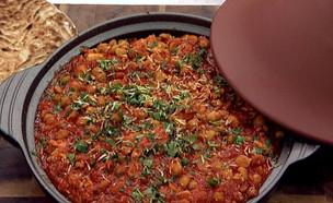 """מוח בתבשיל חומוס ופלפלים עם לחם פרנה (צילום: מתוך: """"מאסטר שף"""", קשת 12)"""
