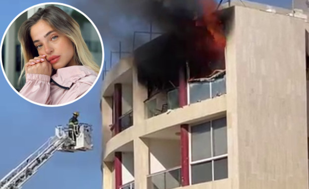 """הבית של נוי קרקו נשרף (צילום: צילום שריפה: פרטי. צילום נוי קרקו: מתוך חשבון האינסטגרם """"noyandhadartwinss"""")"""